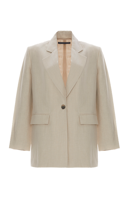 Boyfriend Silk Linen Jacket by Zeynep Arcay, available on zeyneparcay.com for $1950 Kaia Gerber Outerwear SIMILAR PRODUCT